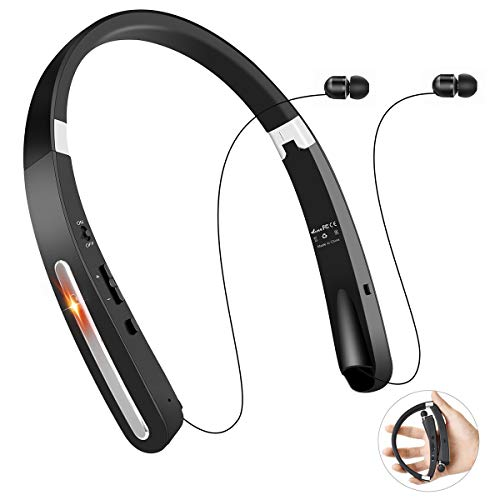 Bluetooth Headphones, TOCGAMT Wireless Retractable Foldable Neckband V4.1 (KKY-992) HD Stereo Sport Travel, Support iPhone,Samsung Galaxy Series, Android Other Bluetooth-Enabled Devices-B
