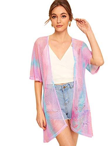 SweatyRocks Women's Short Sleeve Tie Dye See Through Sheer Mesh Kimono Multicolor X-Small