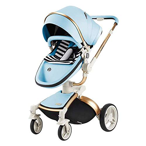 Sunzy 3-in-1 Baby high Landscape cart, Baby Folding Shock Absorber Light Two-Way Stroller, Suitable for 0-3 Years Old Baby, with Basket and Sleeping Basket, Five Colors Optional,Blue