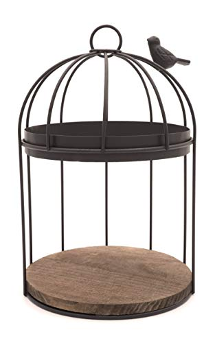 (Birdcage Style Brown Metal Hanging Planter Display Rack with Wood)