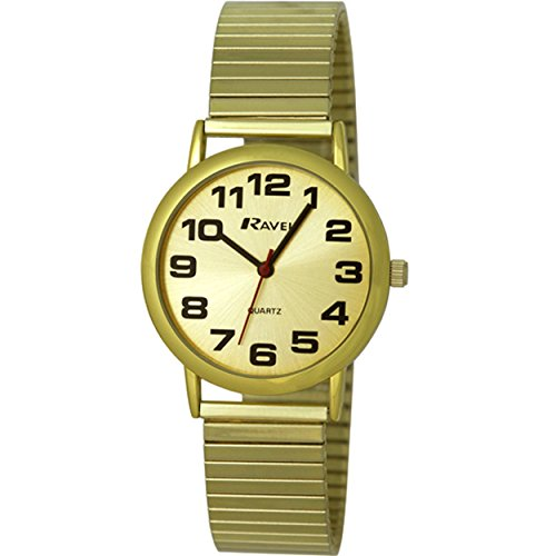 Ravel Gents Gold Stainless Steel Soft Expandable Bracelet Strap Watch (Gents Gold Bracelet)