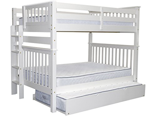 Bedz King Bunk Beds Full over Full Mission Style with End Ladder and a Twin Trundle, White For Sale