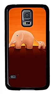 The Elephant 2 PC Black Hard Case Cover Skin For Samsung Galaxy S5 I9600