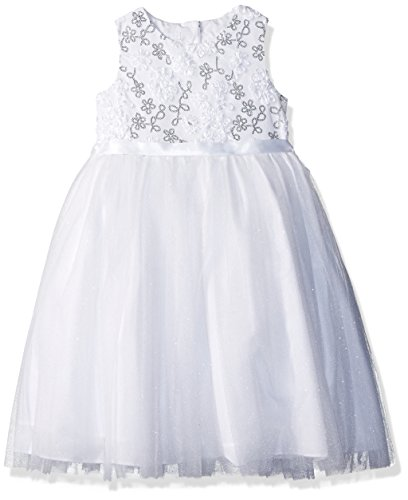 Marmellata Big Girls' White Special Occasion Dress, Silve...