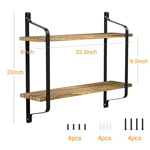 Love-KANKEI Rustic Floating Shelves Wall Mounted Industrial Wall Shelves for Pantry Living Room Bedroom Kitchen Entryway 2 Tier Wood Storage Shelf Heavy Duty Carbonized Black