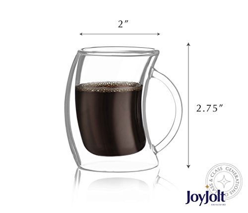 JoyJolt Caleo Collection Double Wall Insulated Glasses Espresso Cups Set of 2 (2-Ounces 60 ML)