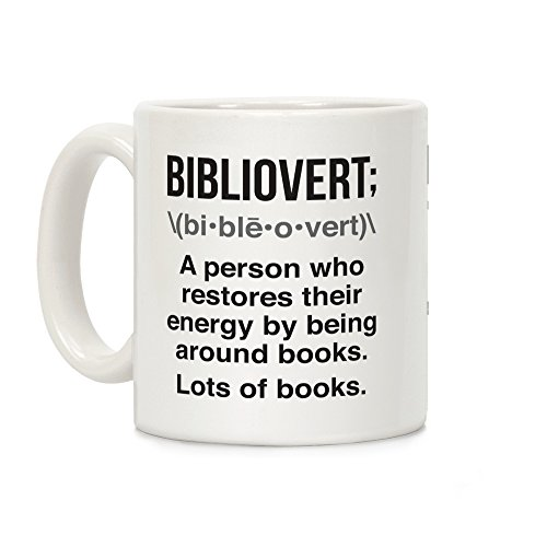 LookHUMAN Bibliovert Definition White 11 Ounce Ceramic Coffee Mug