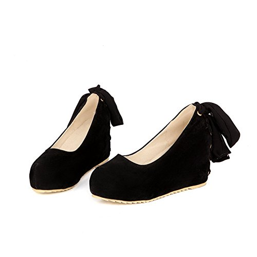 AmoonyFashion Womens Pull On Round Closed Toe High Heels Solid Pumps-Shoes Black UB8tChha