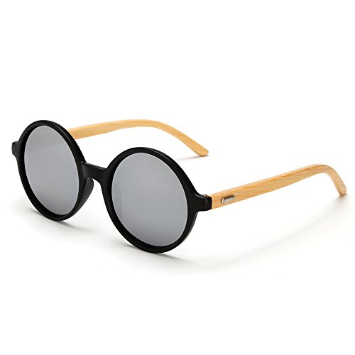 VeBrellen Men's Sunglasses Bamboo Wood Arms Vintage Round Mirrored Sunglasses For Men & Women (Black Frame With Silver Lens, - Sunglasses Wood Recycled