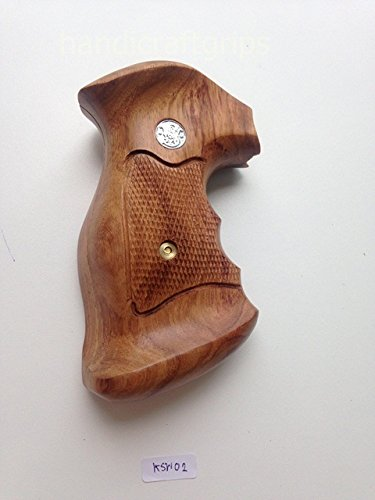 Smith & Wesson K/l Frame Square Butt Revolver Grips Hardwood Finger Groove Checkered Handmade #Ksw02 (Smith And Wesson Grips K Frame compare prices)