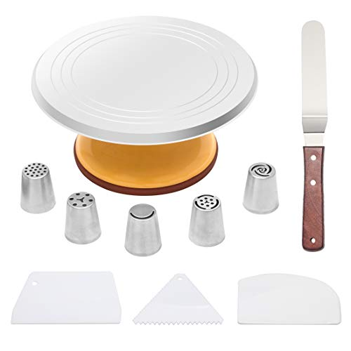 Aluminium Revolving Cake Stand Set with 12 inch Cake Turntable Baking Cake Decorating Supplies with Set of 3 Icing Smoother and Icing Spatula with Angled and Set of 5 Stainless steel Pastry Tubes - Decorating Tube Cake Set