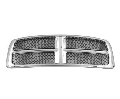 New Front Grille For 2002-2005 Dodge Pickup RAM1500 and 2003-2005 Dodge Pickup RAM2500-3500 Chrome Frame With Painted Honeycomb Inserts ()