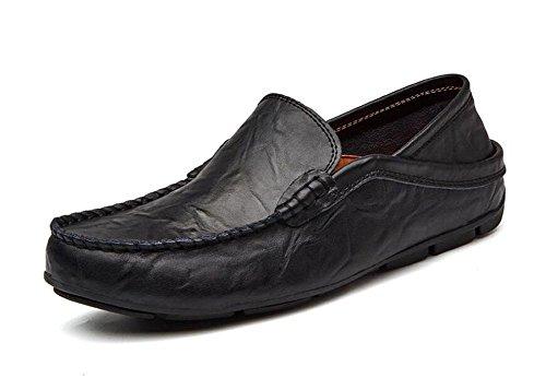 Männer Slip-On Oxford Schuhe Hosen Schuhe Breathable Casual Loafer Leder Schuhe Fahrschuhe Pedal , black , 44