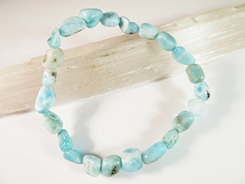 JP_Beads Larimar Stretch Bracelet Blue Tumbled Pectolite Dolphin Stone Nugget Beads 6-9mm ()