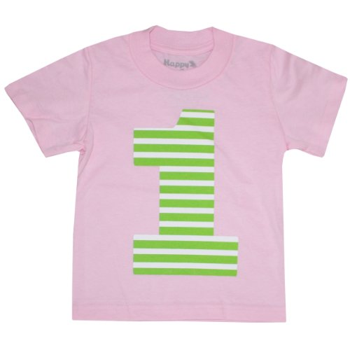 Happy Family Clothing Unisex Baby First Birthday Lime Stripe T-Shirt (18 Months, Light - True Blues Shirt Stripe
