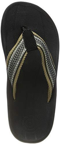 Sessom&Co Men's Arch Support Flip-Flops Outdoor Sandals Orthotics for Plantar Fasciitis & Flat Feet (Black EUR 41