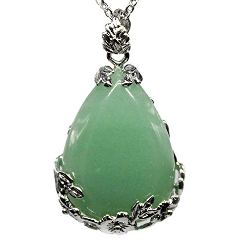 KISSPAT Natural Green Aventurine Teardrop Pendant Necklace on 20 inches Stainless Steel Chain (Green Stone Pendant Necklace)
