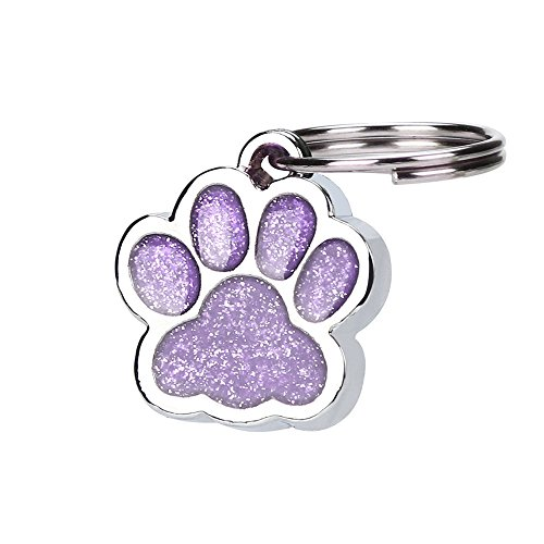 succeedtop Personalized Egraving Etched Glitter Paw Pet ID Tags Custom Personalized for Dog & Cat Paw Print Tag Personalised Engraved Glitter Paw Print Tag Dog Cat Pet ID Tags Reflective (Purple)
