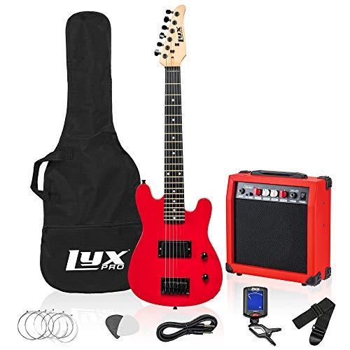 LyxPro 30 Inch Electric Guitar and Starter Kit Bundle for Kids with 3/4 Size Beginner's Guitar, Amp, Six Strings, Two Picks, Shoulder Strap, Digital Clip On Tuner, Guitar Cable and Soft Case Gig Bag (Guitar Kids Starter Kit)