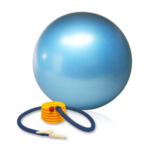 Balance Ball with Foot Pump and Training Guide: Burst-Resistant, 55 cm