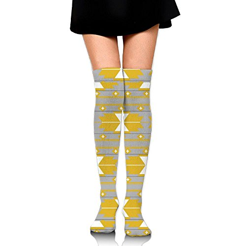 Thigh High Over Knee Socks Boot Stocking Yellow Gray Kilim(2831) With Elastic For Women Leg Warmer (Boots Kilim)