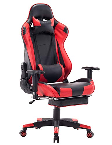 ZOPPO Back Massage Gaming Chair with Footrest,Reclining PC Computer Video Game Racing Gamer Chair,High Back Executive Ergonomic Office Desk Chair with Headrest Lumbar Support Cushion (Red)