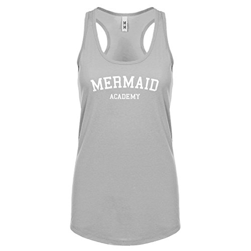 Racerback Mermaid Academy Medium Heather Grey Womens Tank Top