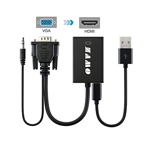 ZAMO VGA to HDMI Cable Adapter Scaler/Converter with Audio Support and USB for Power- Black