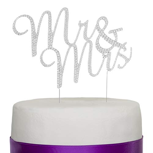 Ella Celebration Mr and Mrs Wedding Cake Topper Rhinestone Monogram Decoration Cake Toppers Mr & Mrs (Silver)