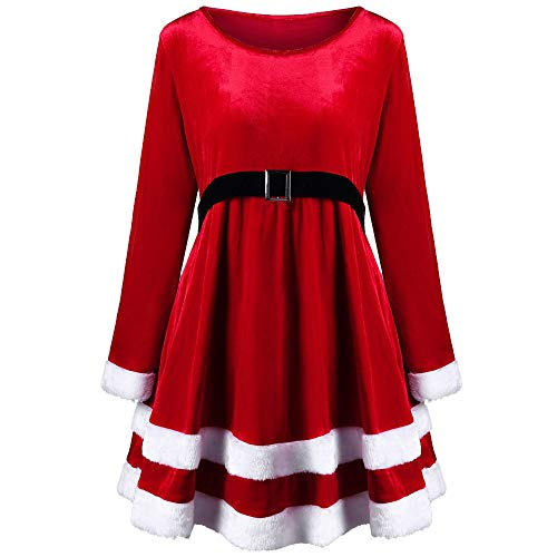 Ankola Christmas Dress Women Xmas New Year Dress Merry Christmas Velvet Long Sleeve O-Neck Red Festival Dress (XXL, Red)]()