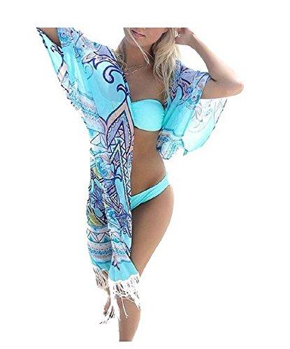 NFASHIONSO Women's Chiffon Bikini Swimwear Printed Bathing Suit Cover - Cover Swimsuit Blue