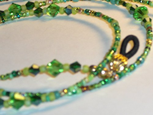 (Beaded Eyeglass Chain Handmade Mixed Green 6mm accents 28 inches Fancy Ends )