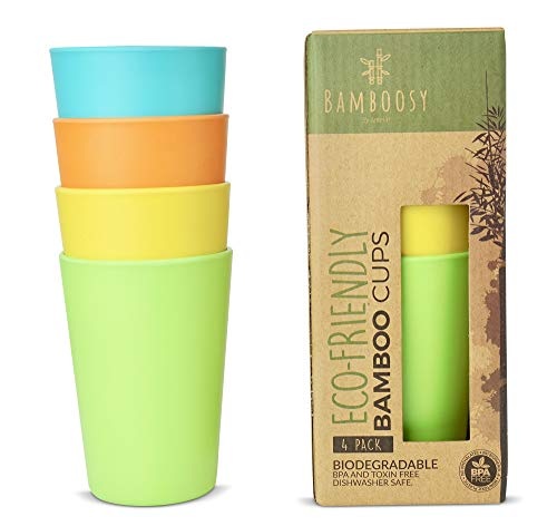 Eco-Friendly Bamboo Cups by Bamboosy - Set of 4 Reusable Bamboo Cups for Kids & Adults - Non-Toxic BPA-Free - Dishwasher Safe - Biodegradable - Perfect for Parties, Picnic, BBQ, -