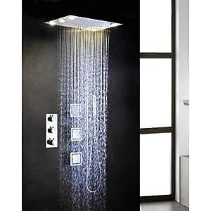 SKT-cocina baño termostático del grifo de la ducha Set, corriente alterna 6 piezas lámparas LED de la cabeza de ducha lluvia incrustados