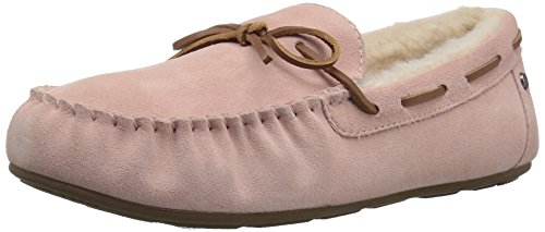206 Collective Women's Pearson Shearling Moccasin Slipper, Pink Suede, 7 B US Shearling Pink Footwear