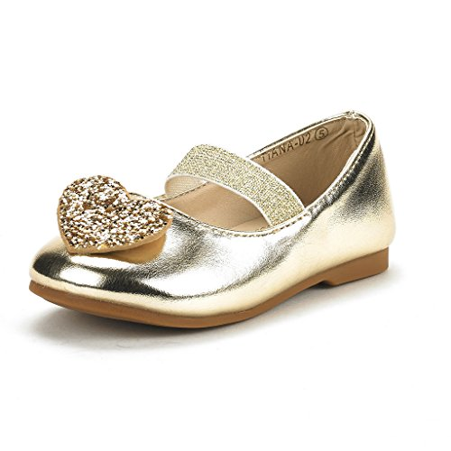 (DREAM PAIRS Toddler Tiana-02 Gold Pu Girl's Mary Jane Ballerina Flat Shoes Size 6 M US)