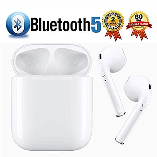 Bluetooth Headset Wireless Earbuds Bluetooth 5.0 Stereo Noise Cancelling Headphones Built-in Microphone Fast Charge Box Compatible with iPhone/ipad/airpods/Samsung/Android