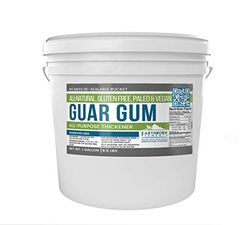 Guar Gum Powder, 1 Gallon Bucket (6.5 lb) by Earthborn Elements, Gluten-Free Food Thickener & Binder, Baking, Natural Laxative, Resealable Bucket