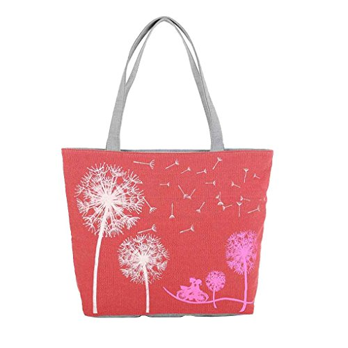 Bags Canvas Handbags Tote Portable Republe Shoulder Dandelion Floral Print Red Bags Zipper Women xwnUgqZB