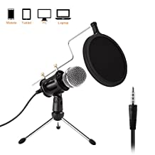 PC/Phone Condenser Microphone, Etpark 3.5mm Jack Professional Microphone with Tripod Stand Windscreen for for Podcast, Recording,Online Chatting Facebook, MSN, Skype, YouTube, Games, for PC, Laptop, Windows Dynamic Handheld Karaoke Microphone