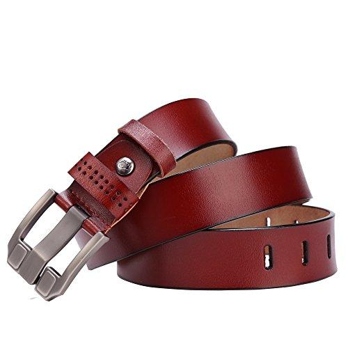 BISON DENIM Classic Belts For Men - Mens Genuine Leather Belt for Dress & Jeans Brown 125cm by BISON DENIM (Image #7)