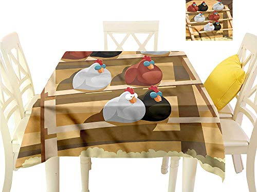 WilliamsDecor Jacquard Tablecloth Chicken,Hen Group Sleeping on Perch Picnic Cloth W 36