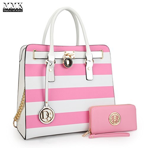 c4f91995529b MMK Collection Women Newest Fashion Women Satchel Tote handbags with Free  Matching Walle(6417)~Designer Purse with Wristlet  Wallet(02-2553w-pink White Gold)