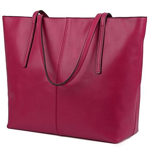 YALUXE Women's Large Capacity Leather Work Tote Zipper Closure Shoulder Bag Pink - Pink Laptop Tote