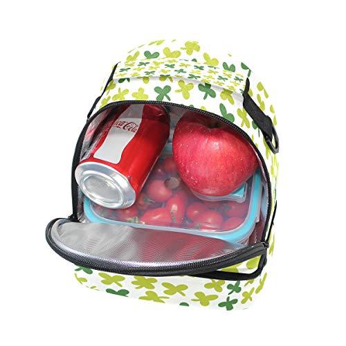 l'école à Sac Folpply Cooler trèfle à feuilles réglable bandoulière Motif isotherme lunch Pincnic Boîte quatre à Tote pour avec xAxTpU