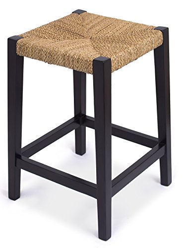 BirdRock Home Rush Weave Backless Counter Stool - Set of 2-24 Inch (Counter Height) - Traditionally Woven Kitchen Dining Room Counter Stool Chair - Wooden Furniture - Fully Assembled - Black Finish