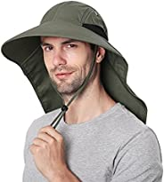 Wmcaps Outdoor Sun Hat for Men with 50+UPF Protection Safari Cap Wide Brim Fishing Hat with Neck Flap
