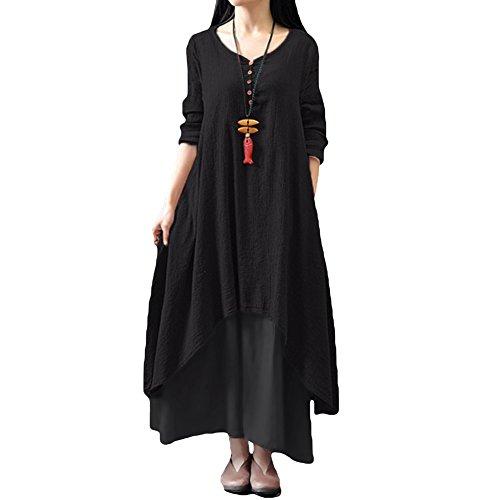 Romacci Women Boho Dress Casual Irregular Maxi Dresses Layer Vintage Loose Long Sleeve Linen Dress with Pockets,X-Large,Black