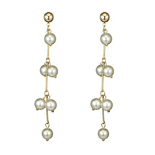 FTXJ Luxury Natural Freshwater Pearl Long Earrings for Women Pearls Jewelry Party GIF (White)