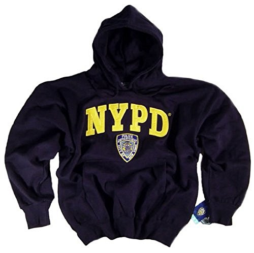 NYPD Shirt Hoodie Sweatshirt Navy Blue Authentic Clothing Apparel Officially Licensed Merchandise by The New York City Police Department Embroidered Letters and NYPD Logo Medium